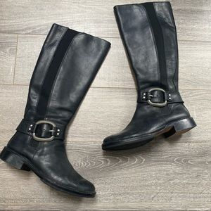 Fossil tall black leather stretch riding boots 6.5